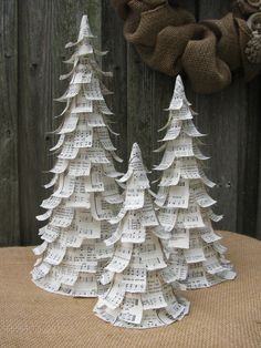 Christmas Trees - Hymnal Music, Set of 3. $45.00, via Etsy.