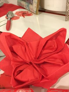 First try at napkin folding - a poinsettia