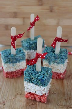 Patriotic Rice Krispy Treat Pops
