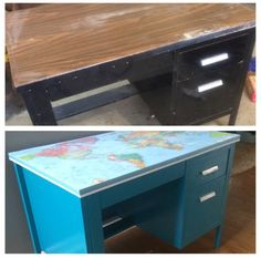Salvage metal desk, rust oleum paint in lagoon and decoupage map to the top Metal Desk Makeover, Desk Redo, Diy Desk, Furniture Makeover, Painted School Desks, Painted Metal Desks, Repurposed Furniture, Kids Furniture, Refurbished Furniture
