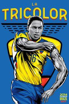 Ecuador, Afiches fútbol Copa Mundial Brasil 2014 / World Cup posters by Cristiano Siqueira