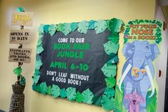 Spread the news of you Book Fair with a countdown bulletin board. Jungle Bulletin Boards, Library Bulletin Boards, Jungle Party, Jungle Theme, Volunteer Teacher, Reading Fair, Read A Thon, Jungle Decorations, Book Fairs