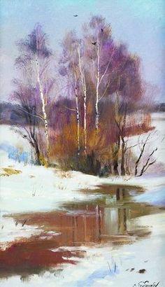 Serguei Toutounov Watercolor Landscape Paintings, Watercolor Trees, Abstract Landscape, Watercolor Artists, Abstract Oil, Abstract Paintings, Oil Paintings, Winter Painting, Winter Art