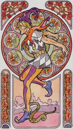 0 - Le fou - Tarot art nouveau par Antonella Castelli
