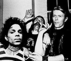 Prince + Lemmy + Bowie (photoshop I think ) Angela Bowie, David Bowie, Sheila E, Cultura Pop, Heavy Metal, Duncan Jones, Photos Rares, Allman Brothers, Ziggy Stardust