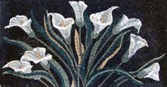 White Flowers Marble Mosaic Stone Art Tile *** To view further for this item, visit the image link. Mosaic Artwork, Mosaic Wall Art, Marble Mosaic, Tile Art, Mosaic Glass, Mosaic Tiles, Stained Glass, Mosaic Designs, Mosaic Patterns