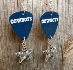 White Cowboys Logo Guitar Picks with Silver Star Charms by ItsYourPickToo on Etsy