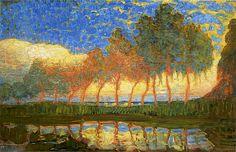 Piet Mondriaan (1872-1944), Mondriaan schildert veel bloemschilderijen en landsschappen voor zijn levensonderhoud. 'Bomen aan het water', 1907-08,