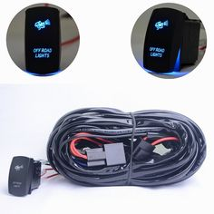 MICTUNING LED Light Bar Wiring Harness 40A Relay ON/OFF Laser Rocker Switch Blue(2 Lead 14AWG) Heavy Duty