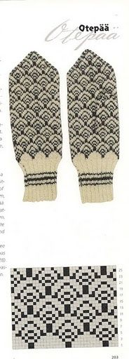 free mitten pattern / also interesting for sweater Knitting Charts, Knitting Stitches, Knitting Socks, Fair Isle Knitting, Hand Knitting, Knitting Patterns, Intarsia Patterns, Knitted Mittens Pattern, Crochet Mittens