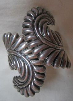 Vintage, Signed Taxco Sterling Silver Cuff Clamper Bracelet