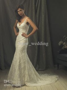 Wholesale Custom made 2012 Elegance Mermaid Sheer Straps Beading Applique Wedding dresses Bridal gowns A861, Free shipping, $134.4-145.6/Piece   DHgate