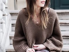 Winter folk  Pull loose maille knit knitwear Romwe Collier necklaces gold By Opaline Bohemian gyspy boho look style outfit Ombre hair