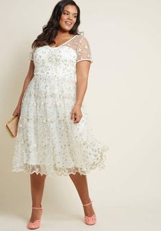 ff3193614d8b3 Plus Size Women S Elegant Clothing. Collectif Clothing Collectif x MC  Rosette Radiance A-Line Dress in Ivory  MC Rosette Collectif