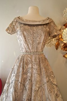 1950's Dress // Vintage 50's Silver Floral Party by xtabayvintage, $398.00