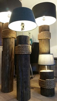 Woodworking Projects Diy, Diy Wood Projects, Home Decor Furniture, Diy Home Decor, Driftwood Lamp, Wooden Lamp, Rustic Lighting, Lamp Design, Lamp Light
