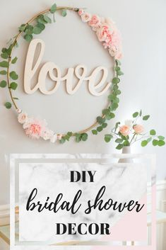 Transform an old hula hoop with this easy DIY Hula Hoop Love Sign tutorial. It was the center of attention (other than the bride of course) at this blush and gold bridal shower.