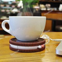 Portable Hot Cookie Shaped USB Powered Cup Mug Coffee Tea Drink Heater Warmer Pad TDS-375837 with Free Shipping