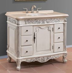 40 Inch Single Sink Bath Vanity With Cream Marble Top   Item 4340