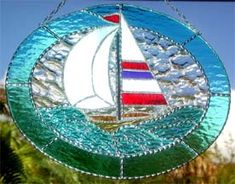 """Stained Glass Sailboat Sun Catcher - Nautical Design - 10"""" x 12"""" - $54.95  - Handcrafted Stained Glass Designs  - Handcrafted Stained Glass Designs  - Glass Suncatchers, Stained Glass Décor, Stained Glass Sun Catchers -  Stained Glass Design   * More at www.AccentOnGlass.com"""