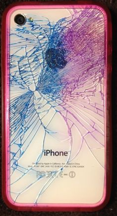 Colored the cracks in the glass on my iPhone 4s with washable markers