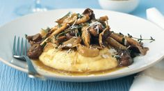 vegetarian food, soft polenta, mushroom ragout, meatless meal, dinner meal