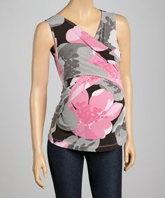 Love this Gray & Pink Floral Maternity Surplice Top on #zulily! #zulilyfinds