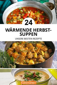 Die besten Herbstsuppen The best autumn soups for cold days: pumpkin soup, tomato soup, stew, baked pasta soup. Dinner, lunch and after work recipe perfect for fall. Chopped Salad Recipes, Easy Salad Recipes, Easy Salads, Fall Recipes, Healthy Dinner Recipes, Soup Recipes, Vegetarian Recipes, Chicken Recipes, Easy Meals