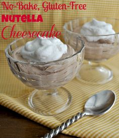 no bake Nutella Cheesecake - I took these to a friend's house, she was mad at me because they were better than her gourmet dinner (don't tell her how easy they are to make!)