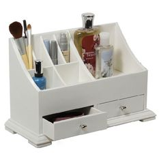 Showcasing 8 open compartments and 2 drawers, this white organizer keeps your desk or vanity in order.      Product: Vanity organiz...