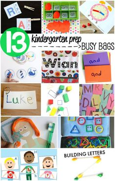 13 Kindergarten Prep Busy Bags. Screen-free ABC activities, math games, sight word practice and more.