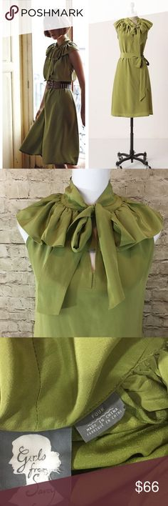 |Anthropologie| Girls From Savoy Lima Juice Dress Beautiful green silk dress with ruffle overlay collar in excellent preowned condition only flaw missing tie but can use different belt Anthropologie Dresses Midi