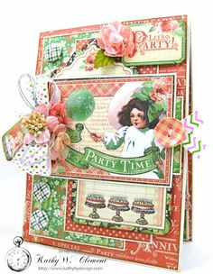 Graphic 45 Shabby Chic Birthday Celebration Card by Kathy Clement for Really Reasonable Ribbon Photo 3