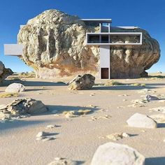 Architectural designer Amey Kandalgaonkar has created renderings of House Inside a Rock, a concept for a modernist concrete house built within a giant rock. Organic Architecture, Futuristic Architecture, Amazing Architecture, Interior Architecture, Contemporary Architecture, Interior Design, Casa Do Rock, Architecture Organique, Architectural Photographers