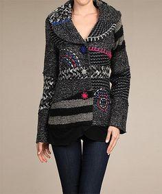 Look what I found on #zulily! Gray & Black Patchwork Coat by Neslay Paris #zulilyfinds