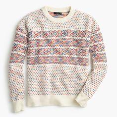 Colorful Fair Isle crewneck sweater