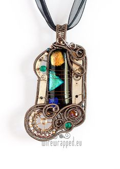 OOAK Black green blue and yellow steampunk fused glass by ukapala, €59.00