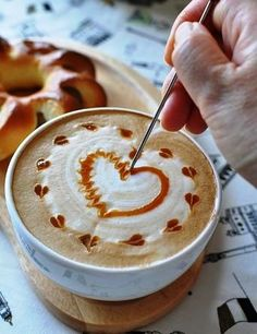 Coffee ♥ Art Heart, step by step... You can practise this! Have a nice day!