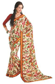 Cream Ethnic Wear Indian Designer Party Wear Printed Faux Georgette Sari #SareeStudio #SareeSari #PartyWear