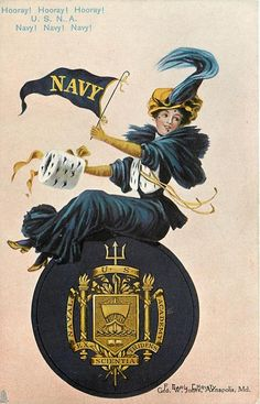 USNA postcard, c.1907 - The University Girl series, by artist: F. Earl Christy. Lady cheering for Navy with pendant. wearing the blue and gold, seated on the USNA seal. ~ {cwl}