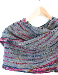 Colorful but Simple Shawl Knitting Pattern by casapinka on Etsy