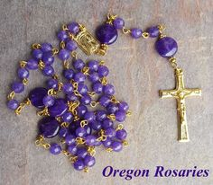 purple amethyst rosary sterling silver by heartfeltrosaries