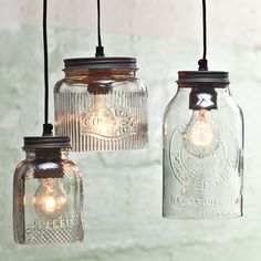 Love love this..:) Great idea Old jars turned into lighting