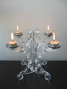 Lucite Candelabra - Laser cut chandelier. The tealights have to go!
