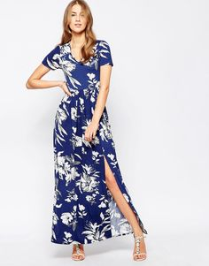Image 1 of Club L Maxi Dress With Front Split In Large Floral Print