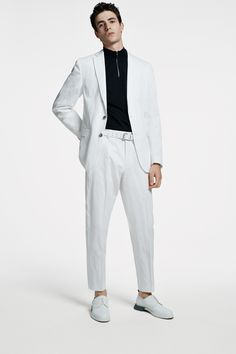 The BOSS Menswear Spring/Summer 2020 collection White Dress Shoes, Hugo Boss Man, Suit Fashion, Modern Man, Knitwear, Menswear, Spring Summer, Normcore, Italy