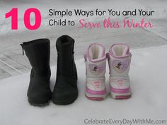 10 Winter Service Ideas for you and your child.  #serve