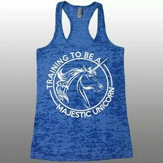 """94df13fdb The listing is for one burnout racerback tank top with """"Training To Be a  Majestic Unicorn"""" graphics."""