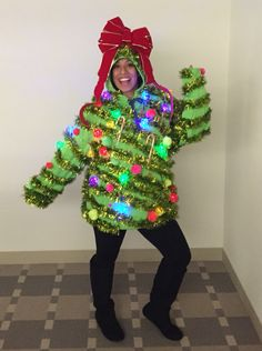 Ugly Christmas Sweater! Christmas Tree. Lights. Bow. Garland. Tacky Christmas Outfit, Light Up Christmas Sweater, Homemade Ugly Christmas Sweater, Xmas Sweaters, Ugly Christmas Sweater Women, Christmas Bows, Christmas Decor, Christmas Arts And Crafts, Christmas Ornament Crafts