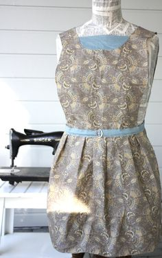 Evelyn Apron  in Tan and Blue Asian Fan by SugarSpiceandNutmeg, $30.00
